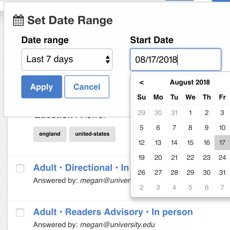 Search date ranges