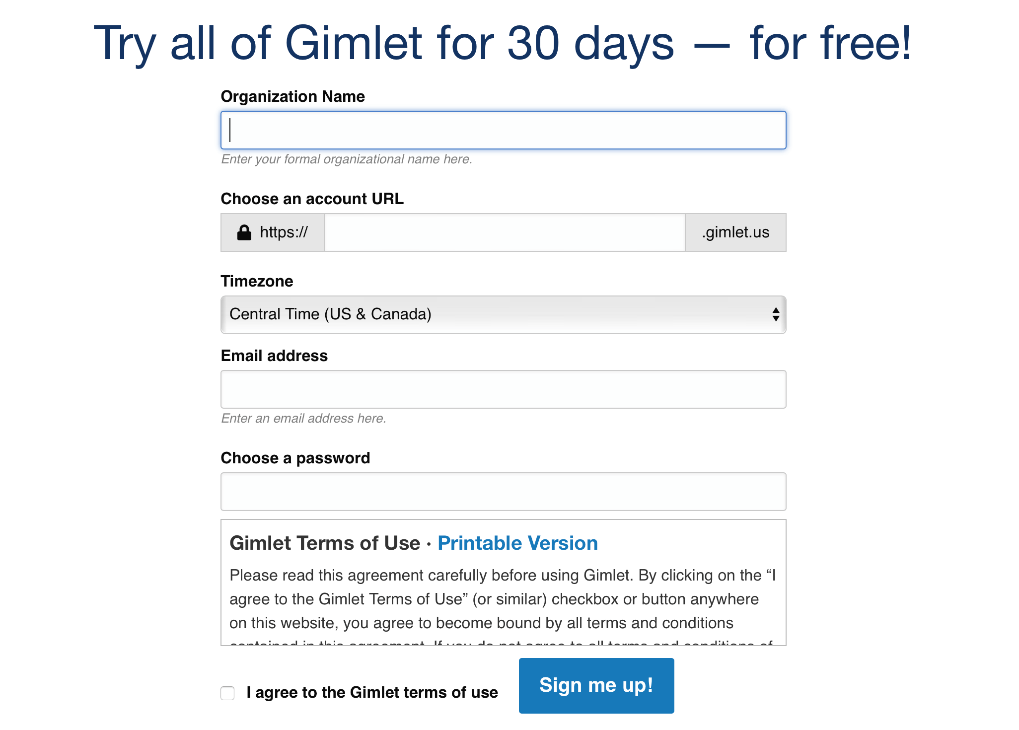Gimlet - Sign up form